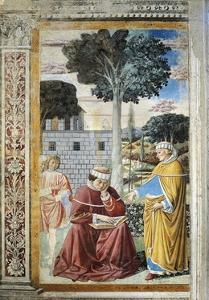 St. Agostino Reading Epistles of St. Paul, Detail from Stories of St. Augustine, 1465 by Benozzo Gozzoli