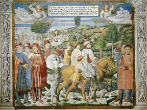 St. Augustine Departing Rome for Milan, Stories of St. Augustine, 1465 by Benozzo Gozzoli