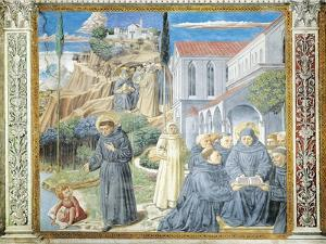 St. Augustine Giving Rule to Monks and Talking to Child Jesus About Holy Trinity by Benozzo Gozzoli