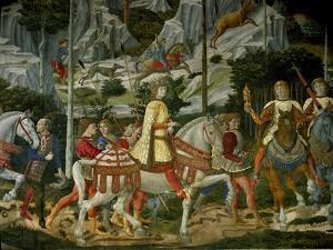 The Adoration of the Magi. Lorenzo il Magnifico. Close-up of Lorenzo il Magnifico and his courtiers by Benozzo Gozzoli