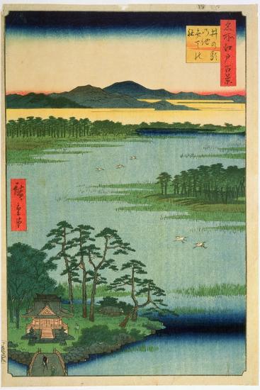 Benten Shrine, Inokashia Pond, from the Series 'One Hundred Famous Views of Edo', 1856-Ando Hiroshige-Giclee Print
