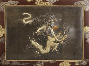 Benten Standing on the Back of a Dragon Holding a Koto, Late 19th Century