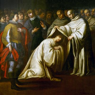 St Bernard of Clairvaux Covering a Man with Robes