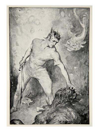 Beowulf shears off head of Grendel, from 'Hero Myths and Legends of British Race' by M.I. Ebbutt-John Henry Frederick Bacon-Giclee Print