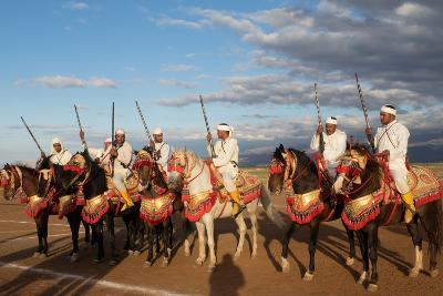 Berber Horsemen Lined Up for a Fantasia, Dades Valley, Morocco--Photographic Print