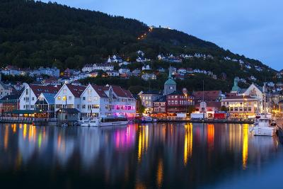 Bergen's Picturesque Bryggen District Illuminated at Dusk-Doug Pearson-Photographic Print