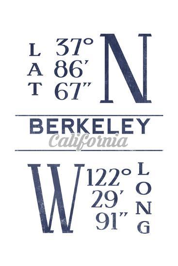 Berkeley, California - Latitude and Longitude (Blue)-Lantern Press-Art Print