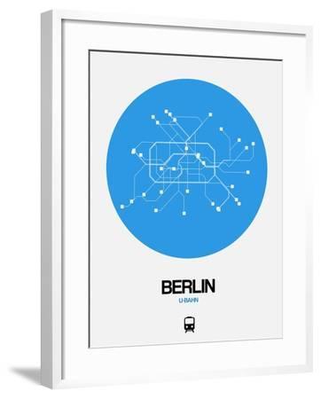 Berlin Blue Subway Map-NaxArt-Framed Art Print