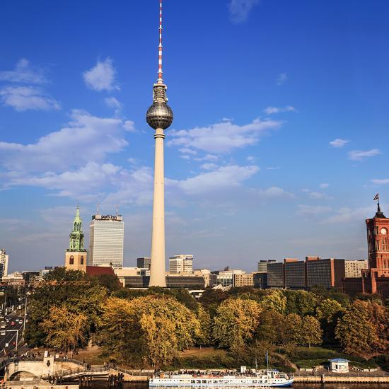 Berlin, Germany. Fernsehturm TV Tower at Alexanderplatz-Miva Stock-Premium Photographic Print
