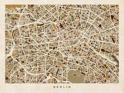 Berlin Germany Street Map-Michael Tompsett-Art Print