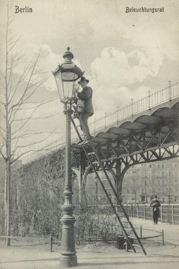 Berlin, Lighting the Gas Lights--Photographic Print