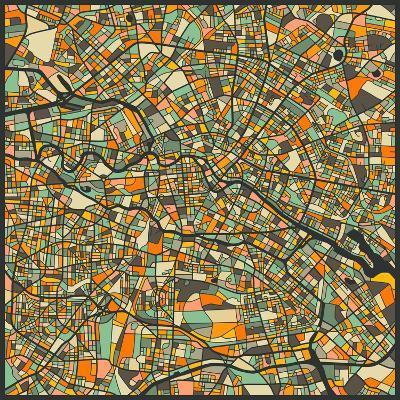 Berlin Map-Jazzberry Blue-Art Print