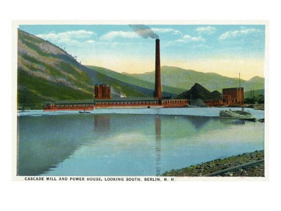 Berlin, New Hampshire, Southern View of the Cascade Mill and Power House-Lantern Press-Art Print
