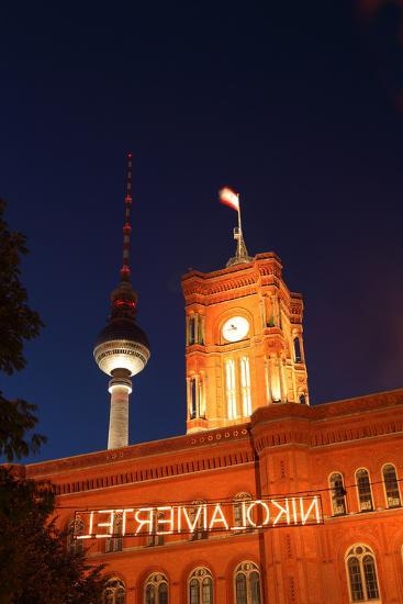 Berlin, Nikolaiviertel, Television Tower, Rotes Rathaus (Red City Hall), Night-Catharina Lux-Photographic Print