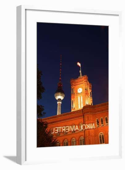 Berlin, Nikolaiviertel, Television Tower, Rotes Rathaus (Red City Hall), Night-Catharina Lux-Framed Photographic Print