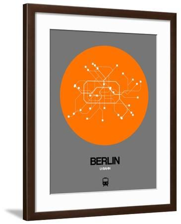 Berlin Orange Subway Map-NaxArt-Framed Art Print