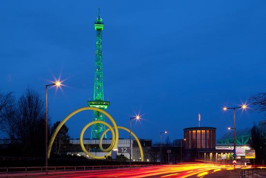 Berlin, Radio Tower, Looping Sculpture, Night-Catharina Lux-Photographic Print