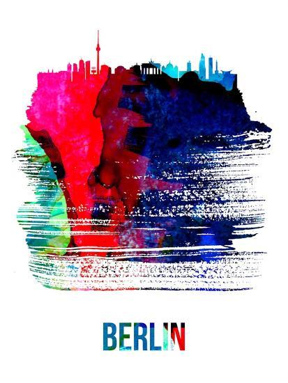 Berlin Skyline Brush Stroke - Watercolor-NaxArt-Art Print