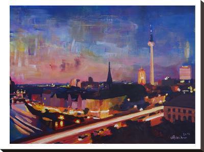 Berlin Skyline Dusk 2-M Bleichner-Stretched Canvas Print