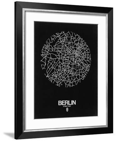 Berlin Street Map Black-NaxArt-Framed Art Print