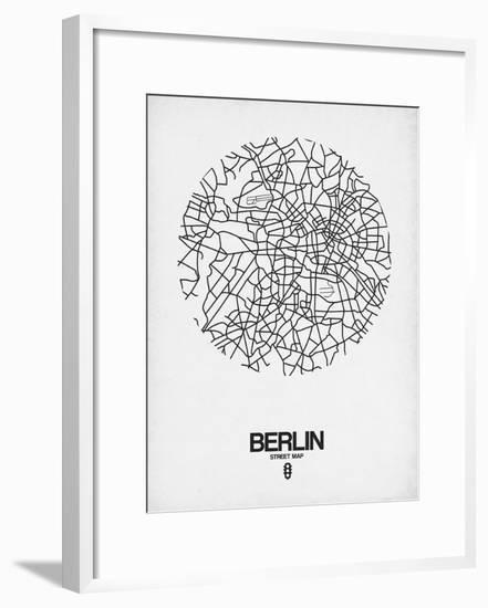 Berlin Street Map White-NaxArt-Framed Art Print