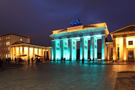 Berlin, the Brandenburg Gate, Night Photography-Catharina Lux-Photographic Print