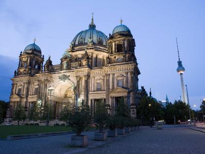 Berliner Dom Cathedral at Dusk with Fernsehturm, Telespargel Beyond, Berlin, Germany-Martin Child-Photographic Print