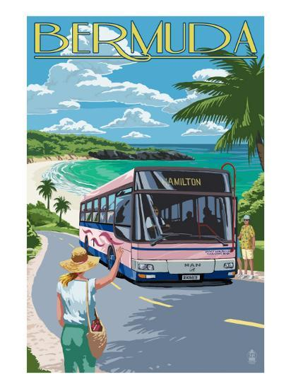 Bermuda - Pink Bus on Coastline-Lantern Press-Art Print