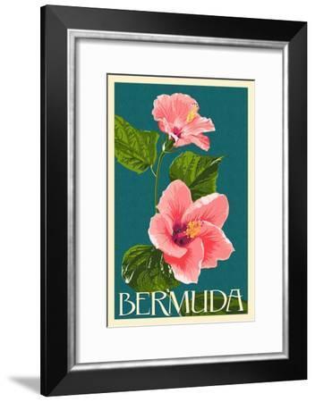 Bermuda - Pink Hibiscus-Lantern Press-Framed Art Print