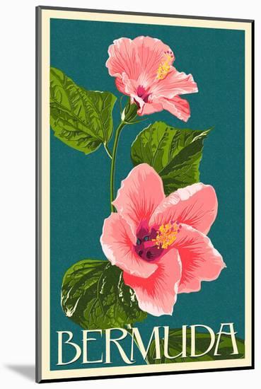 Bermuda - Pink Hibiscus-Lantern Press-Mounted Art Print