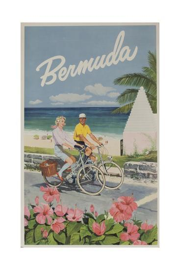 Bermuda Travel Poster, Couple on Bicycle--Giclee Print