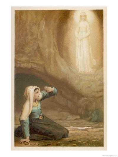 Bernadette Soubirous While Gathering Firewood Suddenly Sees the Virgin Mary in the Grotto- Laugee-Giclee Print