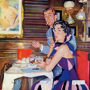 """Her Business Was Men  - Saturday Evening Post """"Leading Ladies"""", December 12, 1953 pg.37 by Bernard D'Andrea"""