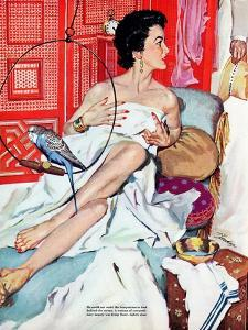 """The Strange Woman  - Saturday Evening Post """"Leading Ladies"""", October 17, 1953 pg.24 by Bernard D'Andrea"""