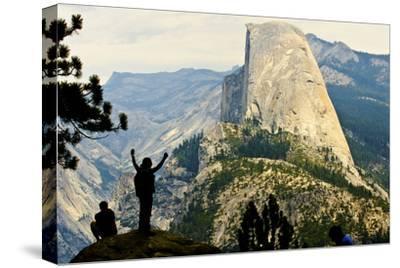 California, Excited Tourist at Yosemite National Park, Yosemite Falls, Half Dome