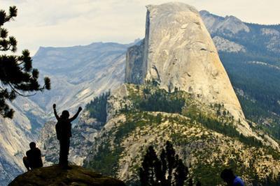 California, Excited Tourist at Yosemite National Park, Yosemite Falls, Half Dome by Bernard Friel