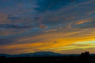 New Mexico, Santa Fe, Sunset from Hyde Park Road at Avenida Primera S by Bernard Friel