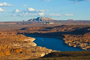 USA, Arizona, Page, Lake Powell Vistas, cruising Boat by Bernard Friel