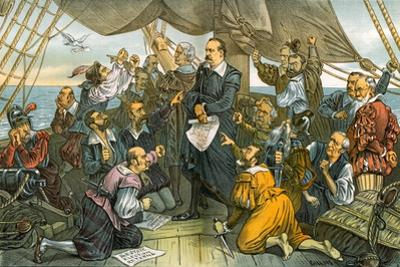 Columbus Cleveland and His Mutinous Crew - This Ship Shall Not Turn Back! 1885 by Bernard Gillam