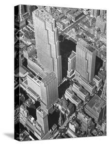 Aerial View of Rockefeller Plaza in Midtown Manhattan by Bernard Hoffman