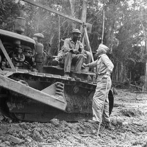 Brigadier General Lewis a Pick Speaks to Sgt William a King, Ledo Road, Burma, July 1944 by Bernard Hoffman