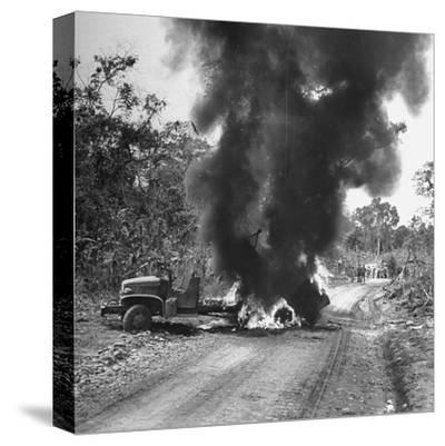 Buring Diesel Truck on the Ledo Road, Burma, July 1944