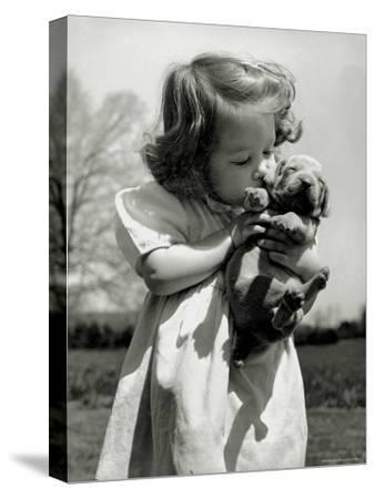 Christina Goldsmith Kissing a Weimaraner Puppy from Her Father's Stock of Weimaraner Hunting Dogs