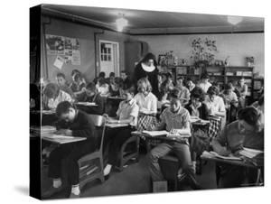 Classroom Scene at School For St. Teresa Church in New Building by Bernard Hoffman