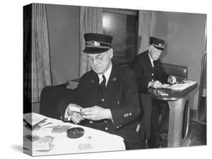 Conductors Working on the Rock Island Railroad by Bernard Hoffman