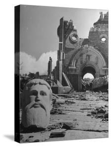 Head of Christ in Front of Destroyed Cathedral 2 Miles from Where the US Dropped an Atomic Bomb by Bernard Hoffman