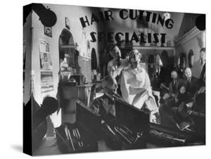 Interior View of Barber Shop by Bernard Hoffman