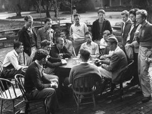 Members of the Throop Club Playing a Poker Game in the Courtyard of their Club Building by Bernard Hoffman