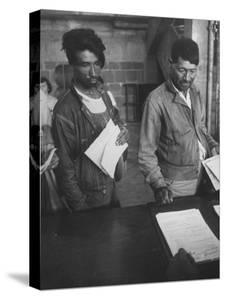 Migrant Mexican Workers Waiting to Get Papers to Legally Work in the Us by Bernard Hoffman