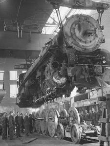 New Locomotives Being Built in Main Shop by Bernard Hoffman